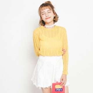 韓版小清新蕾絲鏤空透視圓領長袖上衣