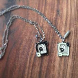 Black/ White Pig Photo Frame Sliver Necklace