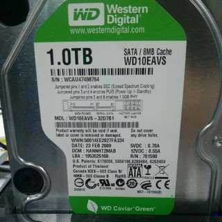 Western Digital Green Caviar 1TB Harddisk. Size 3.5inch.
