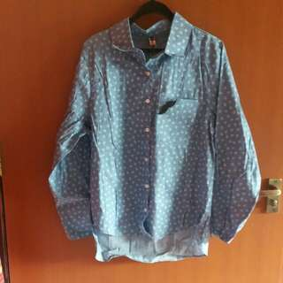 Denim-Like Shirt Blouse