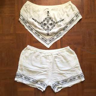 White Embroidered Two Piece
