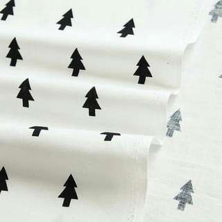 Scandinavian and Modern Style Black Tree Pattern Cotton Fabric