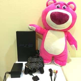 PS2遊戲機+2個原廠把手+8G記憶體+金手指+遊戲片*1