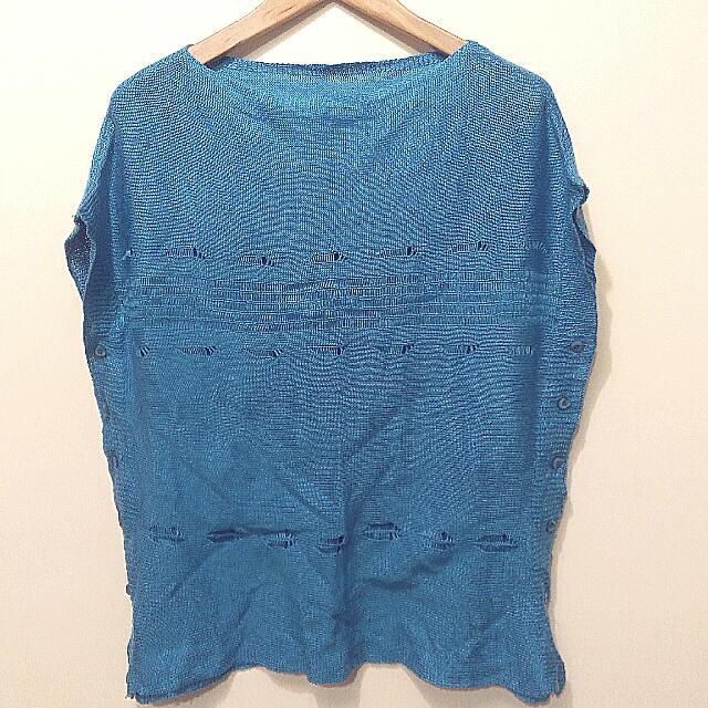 求出清★藍色針織毛衣背心