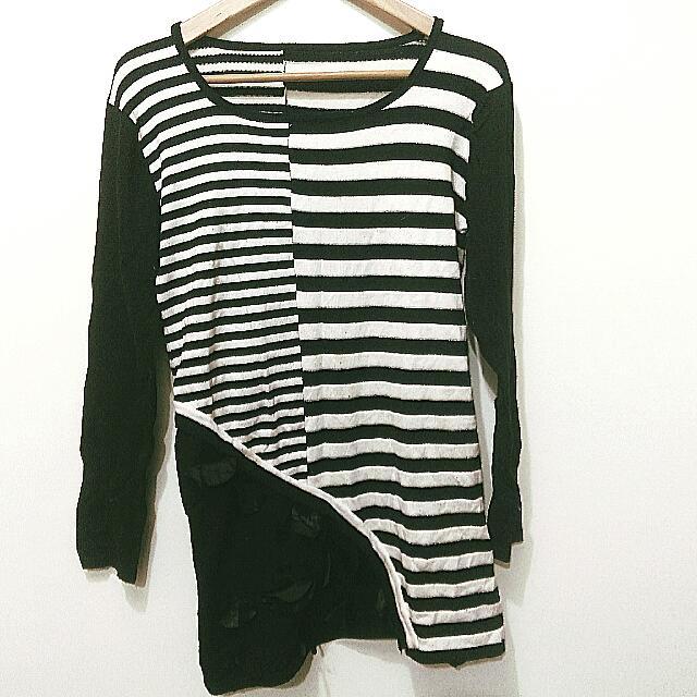 求出清☆黑白色不對稱毛料針織長版衣