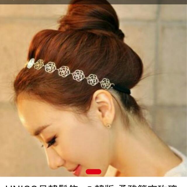 日韓柔雅鏤空玫瑰花朵髮帶/髮飾