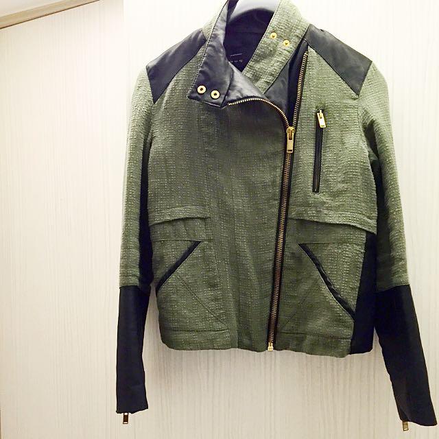 韓國直送-軍裝風拼接皮革夾克