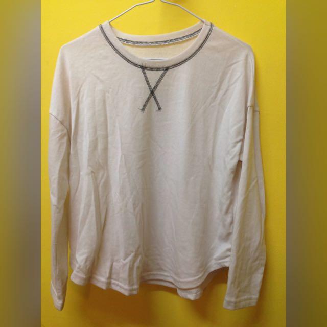 二手 交叉縫線寬鬆棉長袖