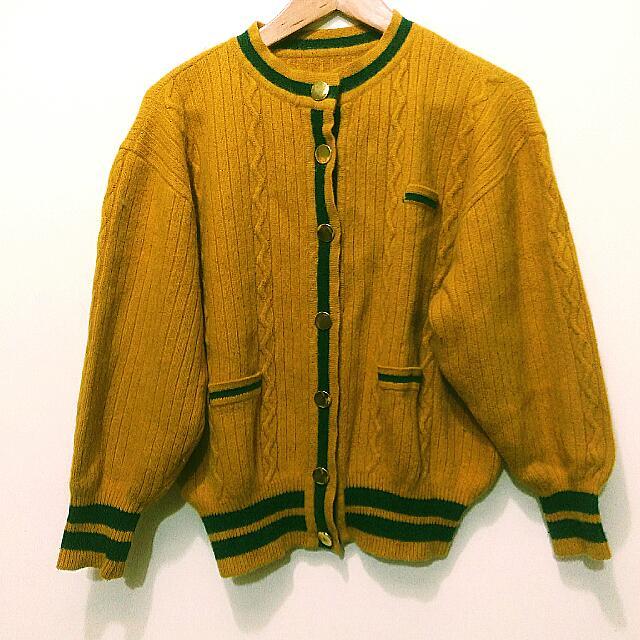 求出清☆ 古著 復古 羊毛厚外套 駝黃色綠色