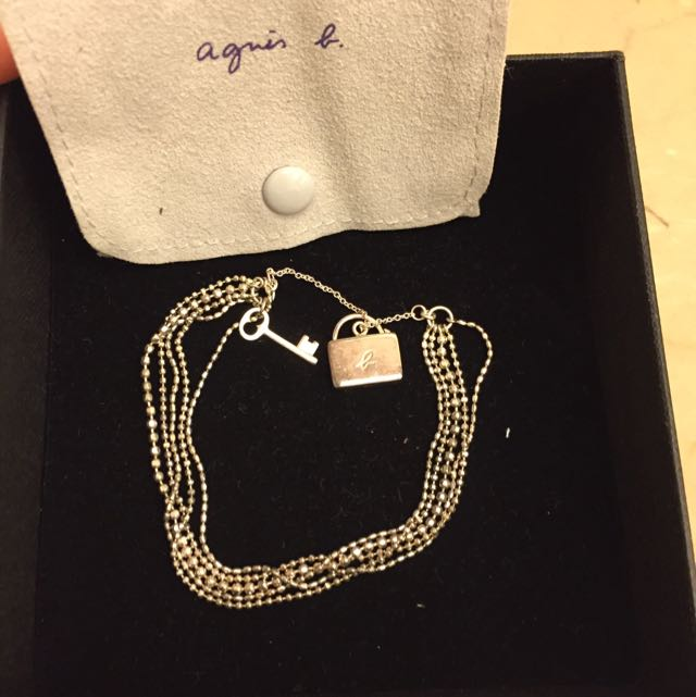agnes b. 純銀小鎖頭手鏈