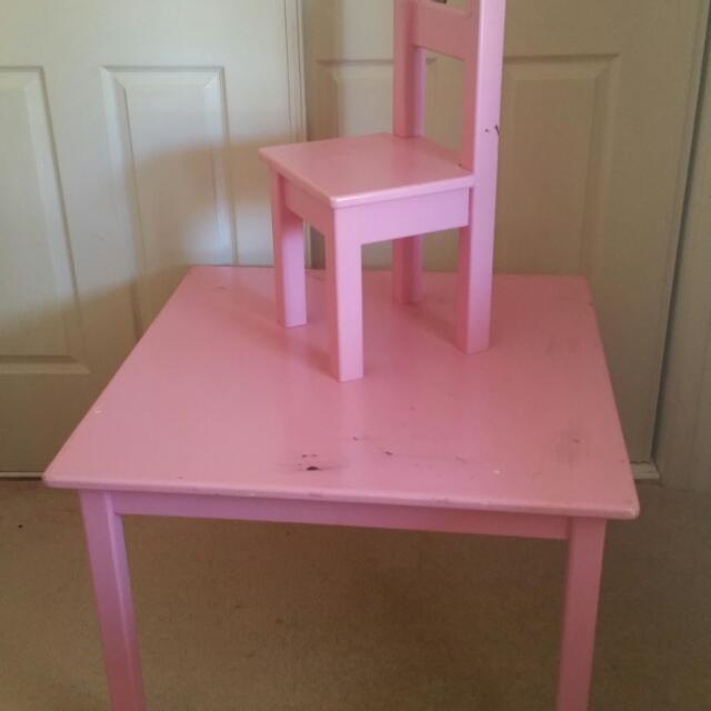 Pink Kids Table And 4 X Chairs