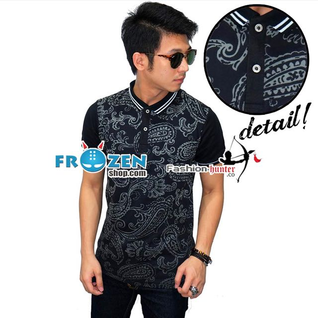 Polo Ethnic Paisley Pattern Black