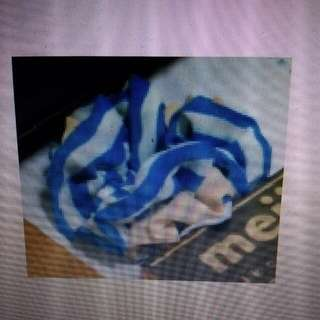 收購 藍白條紋大腸圈髮飾