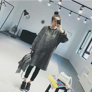 秋冬混織灰色圓領套頭中長款寬松衛衣T恤女連衣裙