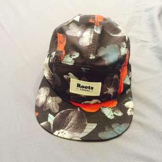 (二手出售) 加拿大ROOTS花卉遮陽平沿帽-黑
