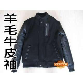 【KESTER】客訂頂級款 牛皮袖 棒球外套