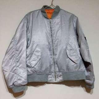 [售出]古著oversize銀色飛行夾克