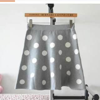 Knitted Grey Polka Dots Skirt (Grey)