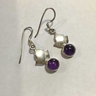 Sterling Silver 925 Purple Dangle Earring