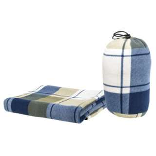 超纖細搖粒絨雙面蓋毯 (大方格紋/藍)