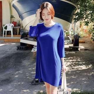 韓國Cherrykoko 寶藍長版T 洋裝 連衣裙