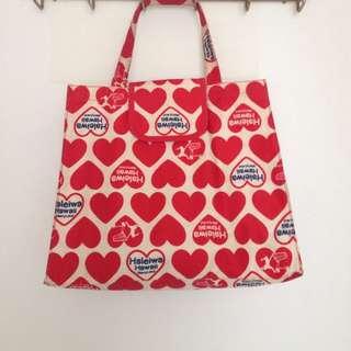 🚚 日本品牌 Haleiwa MerryLand 紅色愛心 帆布 手提包