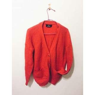 亮橘/ 厚針織衫
