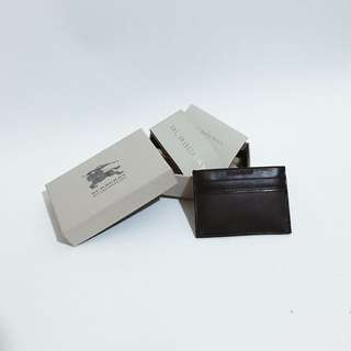 BURBERRY MEN'S GENUINE LEATHER CREDIT CARD CASE HOLDER WALLET CHOCOLATE COLOR