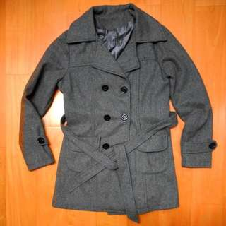 秋冬 灰色綁腰雙排扣西裝外套