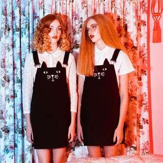 黑貓咪 日系 可愛吊帶裙連身裙洋裝