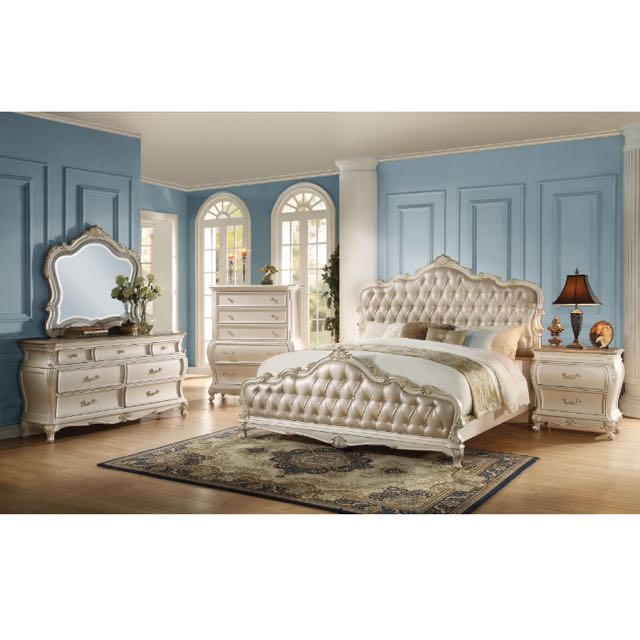 4 Pcs Pearl White/Rose Gold Upholstery Queen Bedroom Set