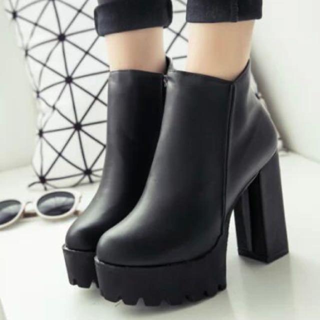 🆕秋新款側拉鍊超高粗跟短靴