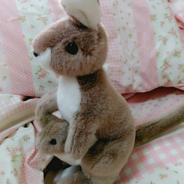 超療癒系袋鼠嘛麻跟寶寶