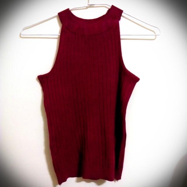 (全新) 針織坑條紋酒紅削肩背心