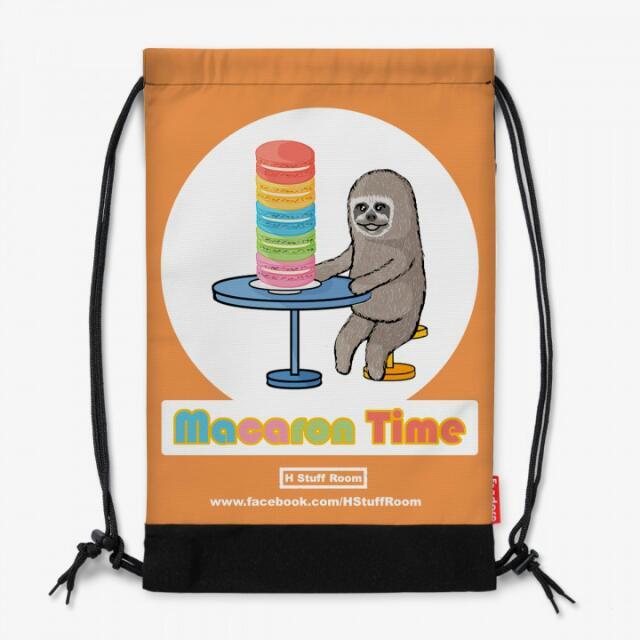 【售】全新 手作輕便型後背束口包《樹懶與馬卡龍的午茶時光》