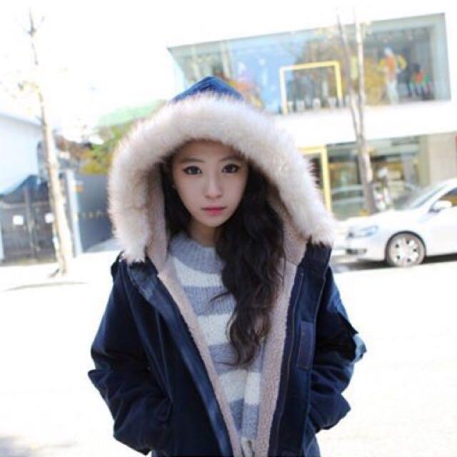 【全新】韓版 冬季 羊羔絨毛 中長款 連帽 加厚 毛領 棉質 學院風 超保暖 外套