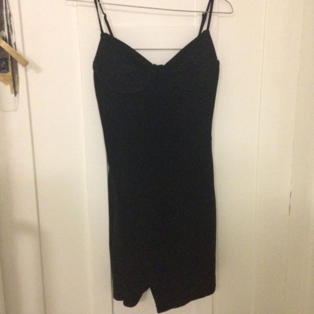 Black Dress Asymmetrical Hem