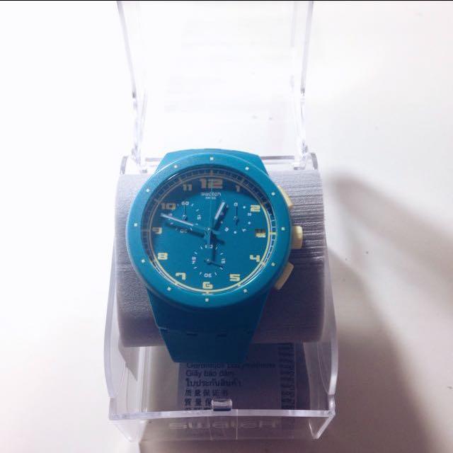 ✨近全新Swatch湖水綠三眼手錶⌚️