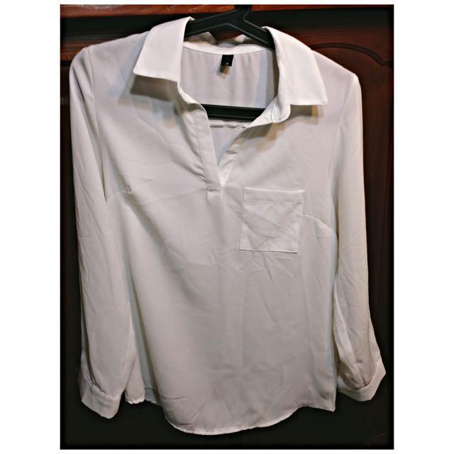 純白V領襯衫