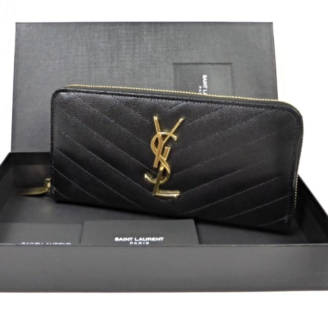 18528f43da03 Ysl Monogram Saint Laurent Zip Around Wallet (Black Grain)