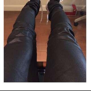 正品 YSL 上膠黑色牛仔褲(8成新)🎩