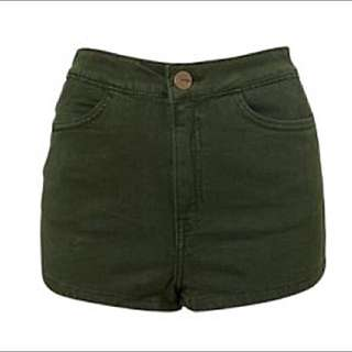 TOPSHOP Army Green MOTO Highwaist Shorts