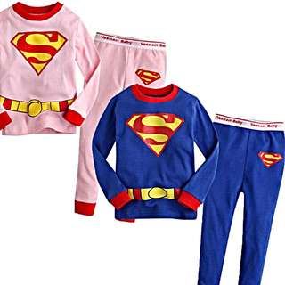 Super kids PJ Long Sleeve Available In Pink And Blue, Ages 2-7. Pm To Enquire