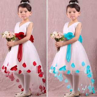 Pretty Princess Floral Frock , Ages 3-7 Refer To Size Chart. Available In Red N Blue Please PM To Enquire