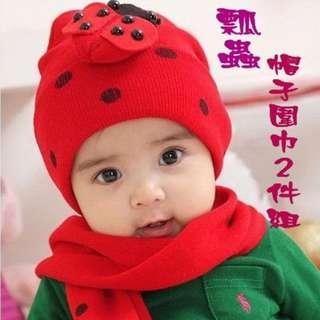 秋冬韓版立體瓢蟲帽子+圍巾二件組