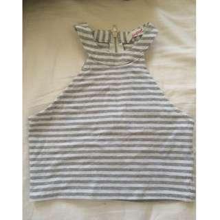 Grey/white High Neck Striped Crop