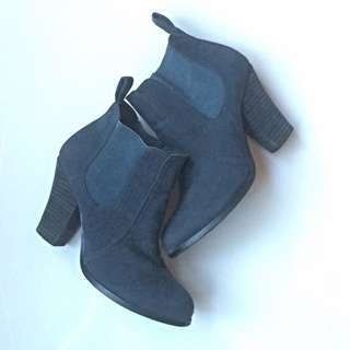 Gunmetal Blue Ankle Boots