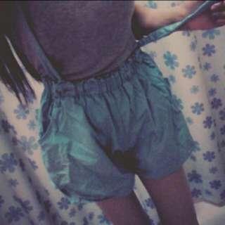 全新👍🏻蒂芬妮綠吊帶褲