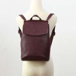 酒紅色進口皮翻蓋素面兩用後背包