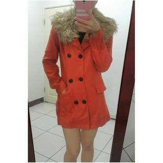 (免運)毛領橘色毛料外套